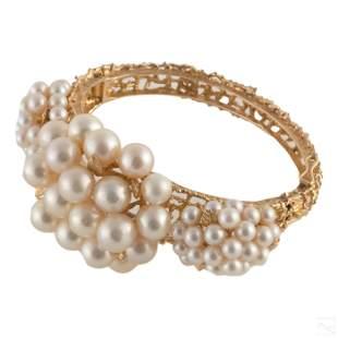 14K Gold & Akoya Pearl VTG Hinged Bangle Bracelet
