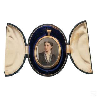 14K Gold Case Victorian Miniature Portrait Pendant