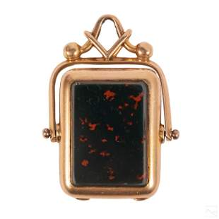 14K Gold Agate Bloodstone Old Locket Fob Pendant