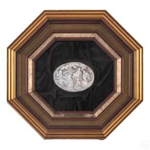 G Mazza Framed Figural Carved Birth of Venus Cameo