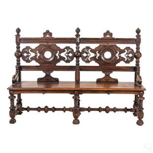 Gothic Revival Style Antique Carved Wood Bench Pew