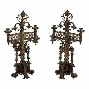 Gothic Revival Style PAIR Bronze Dragon Candelabra