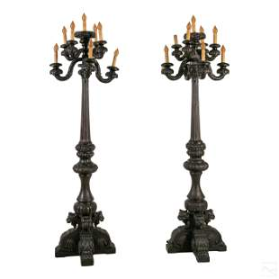 Gothic Revival Style PAIR Wood Castle Candelabras