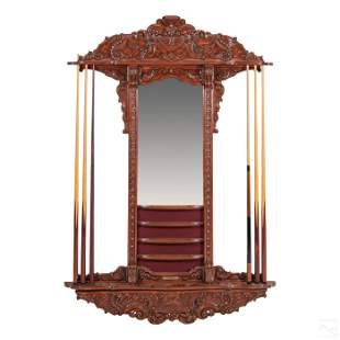 Carved Wood 6 Ft Rock Star Mirror & Cue Stick Rack