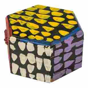 L. V. Hull 1942-2008 Outsider Folk Art Painted Box