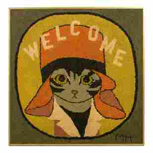 "Mid Century Modern 36"" Naive Hooked Rug Cat Art"