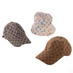 Louis Vuitton & Gucci Vintage Fabric Hat Caps LOT