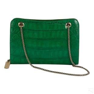 Oscar De La Renta Green Alligator Purse Hand Bag