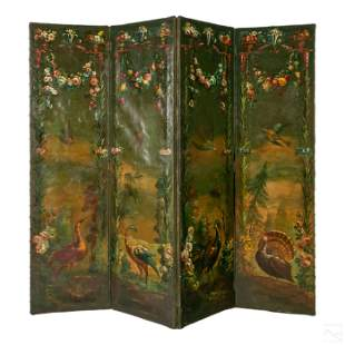 Flora and Birds Painted Antique Four Screen Panels