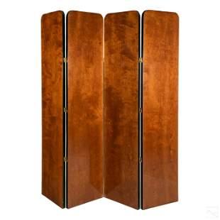 Art Deco Ebonized Mahogany Four Panel Floor Screen