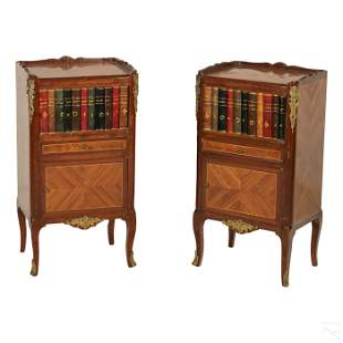 Inlaid Wood Antique Library Bookcase Cabinets Pair