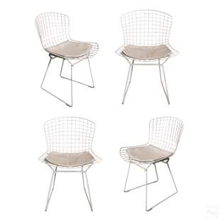 Harry Bertoia for Knoll White Side Chairs Set of 4