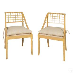 John Saladino Wood Framed Cushion Sleigh Chair Set