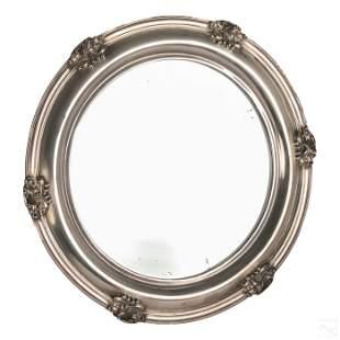 Gorham Art Deco Sterling Silver Round Easel Mirror