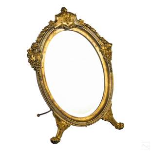 Neoclassical Ornate Antique Footed Vanity Mirror