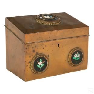 Victorian Bronze Pietra Dura Letter Stationary Box