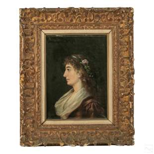 Young Woman Framed Antique Portrait Oil Painting