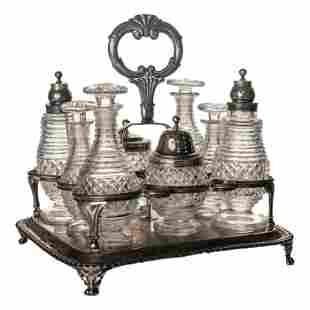 Georgian Antique 1815 Silver Cut Glass Cruet Set