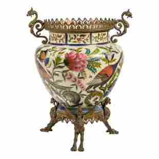French Antique Opaline Glass & Bronze Floral Vase