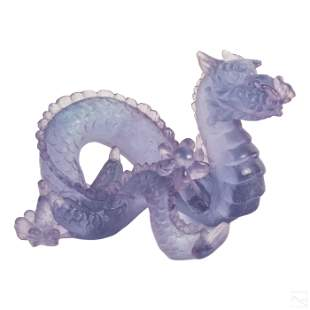 Daum France LE Amethyst Crystal Dragon Sculpture