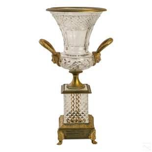 "Baccarat Style 19"" Crystal & Bronze Art Deco Vase"