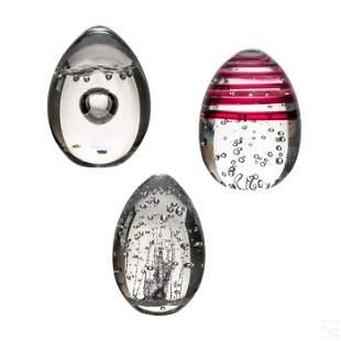 Studio Art Glass Egg Paperweight Sculptures Group