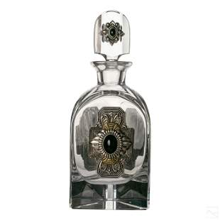 Ann Cichon Bejeweled Glass Crystal Liquor Decanter