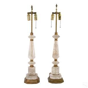 """Art Deco 35"""" Carved Natural Rock Crystal Lamp Pair"""