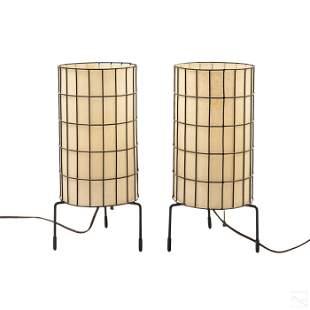 Pair Paul Mayen For Habitat Wire Cage Table Lamps