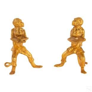 Dore Bronze Monkey Candlestick Holder Candelabras
