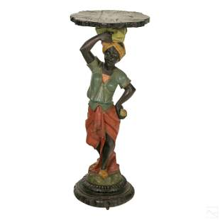 "Blackamoor Carved Wood 34"" Antique Pedestal Table"