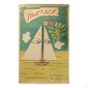 Vintage Monaco Art Poster Print after Jean Cocteau