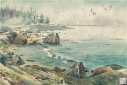 Robert Hild (b.1939) Coastal Landscape WC Painting