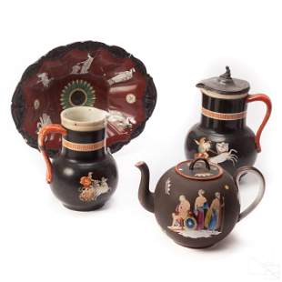 Flaxman's Athena Antique Jugs Teapot Platter Group
