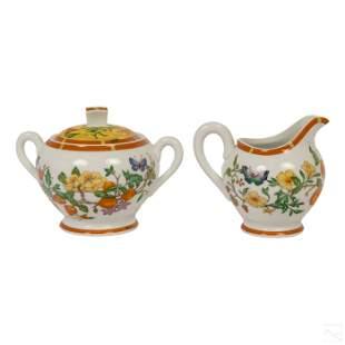 Hermes La Siesta White Yellow Creamer & Sugar Bowl