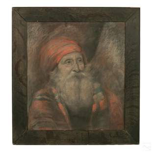 Orientalist Antique Man In Turban Charcoal Drawing