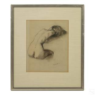 Cortland Butterfield 1904-1977 Signed Nude Drawing