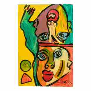 Peter Keil b.1942 Neo Expressionism Faces Painting