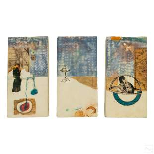 Marge Luttrell Modern Abstract Triptych Painting
