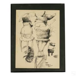 Modern Latin American Erotic Art Ink Illustration