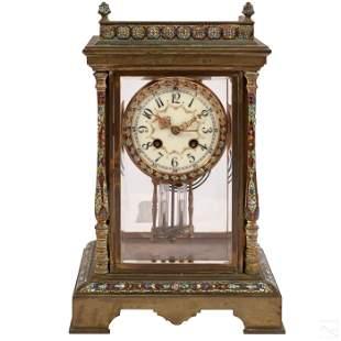 Tiffany & Co. Bronze French Champleve Enamel Clock