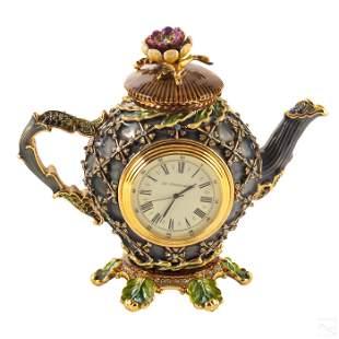 Jay Strongwater Ltd Ed Flora Teapot Figurine Clock