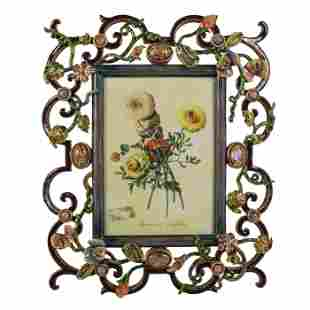 """Jay Strongwater 12"""" Swarovski Floral Picture Frame"""