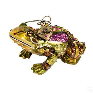 Jay Strongwater Green Frog Christmas Tree Ornament