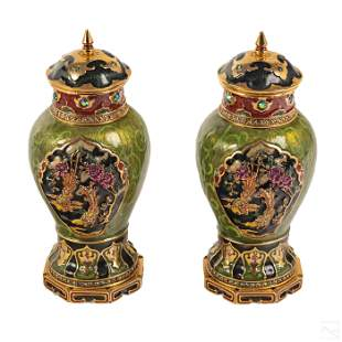 Jay Strongwater Chinoiserie Dragons & Birds Vases