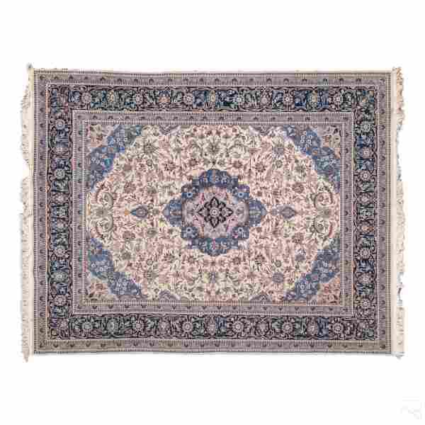 Persian Tabriz Style 10' Blue Wool Area Rug Carpet