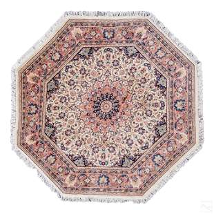 """Persian Tabriz 59"""" Hand Knotted Octagonal Area Rug"""