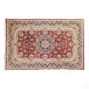 Persian 10' Silk Hand Woven Red Hereke Carpet Rug