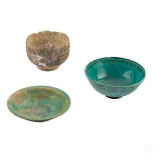 Ancient Persian Glaze Clay Pottery Bowl Collection