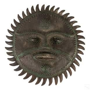 African Bronze Tribal Primitive Sun Mask Sculpture